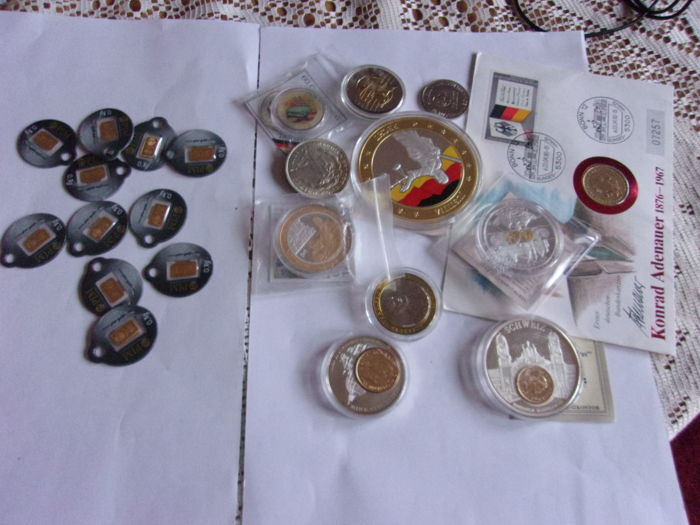 10 x 0,1 g Gold + lot of coins & medals - Goud