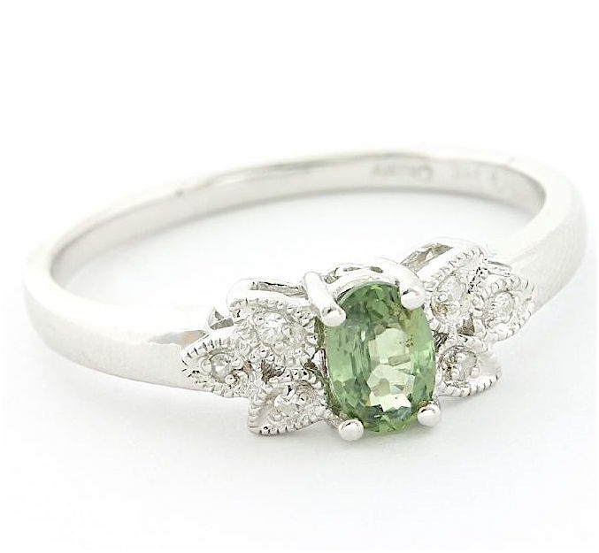 14 kt. White gold - Ring - 0.75 ct Green Sapphire - Diamond