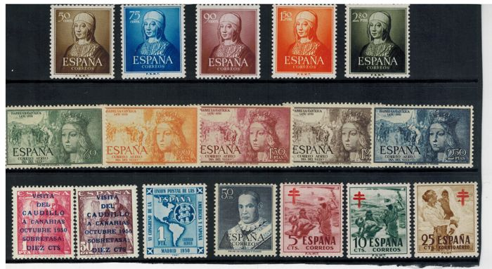 Spain 1951/1056 - Complete years with 1088/89 and without 1090. **MNH - Edifil 1088/1105 y 1185/1205