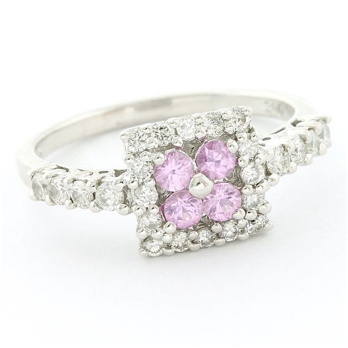 14 karaat Witgoud - Ring - 0.50 ct Diamant - Roze saffier