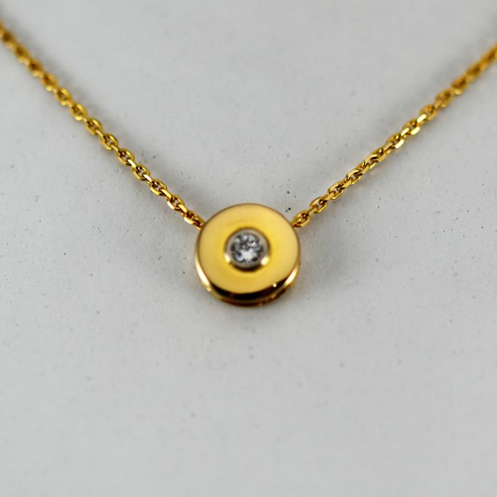 18 kt. Yellow gold - Necklace with pendant - 0.15 ct Diamond