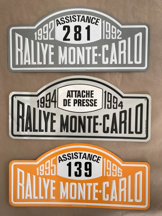 Number plate - 7 Rally plate Rallye Monte-Carlo Monaco France from 1992 to  2016 Assistance Press Park - 1992-2016 (7 items) - Catawiki