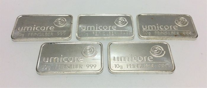 5 x 10 grams - Zilver .999 - Umicore