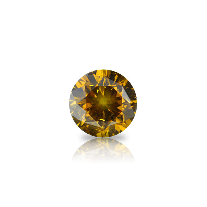 1 pcs Diamant - 0.89 ct - Rond - fancy deep orange yellow - SI2