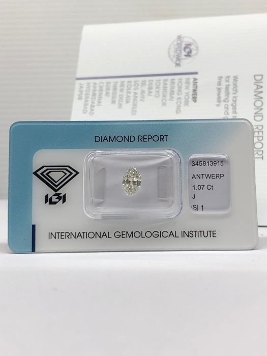 1 pcs Diamant - 1.07 ct - Marquise - J - SI1