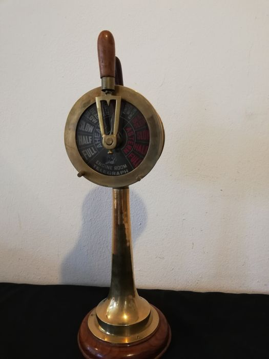 Replica of a Ships engine room Telegraph (1) - Brass Glass Wood