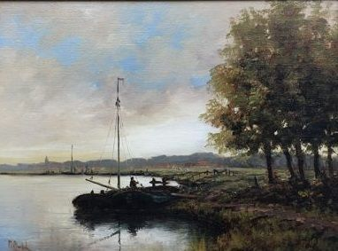 Peter van Berkel (1956) - landschap water met boot