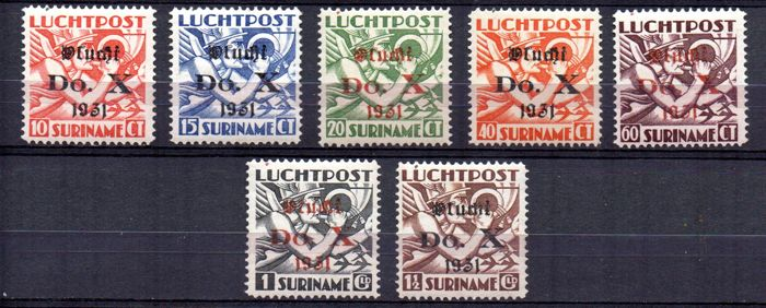 Suriname 1931 - Opdruk vlucht Do.X - NVPH LP8/LP14