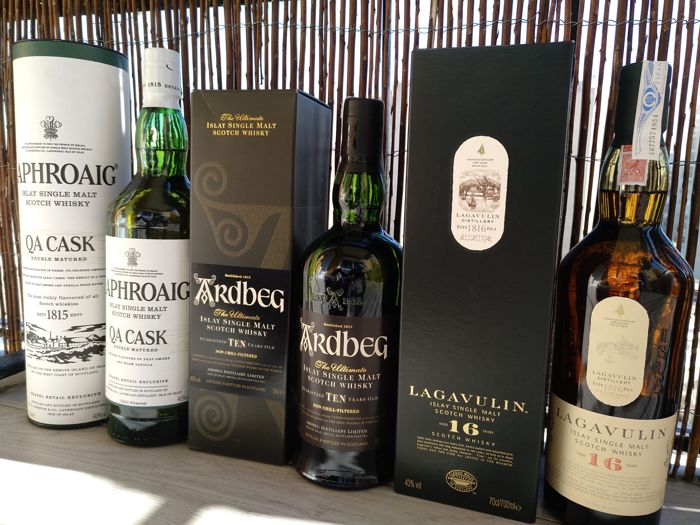 Ardbeg 10 years - Lagavulin 16 years - Laphroaig QA Cask - 70cl & 70cl & 100cl - 3 bottles