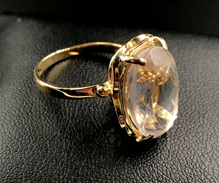 18 kt. Yellow gold - Ring Rose quartz