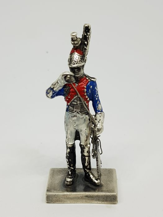 Silver miniature, soldier in high french uniform (1) - .800 silver - Italy - 1900-1949