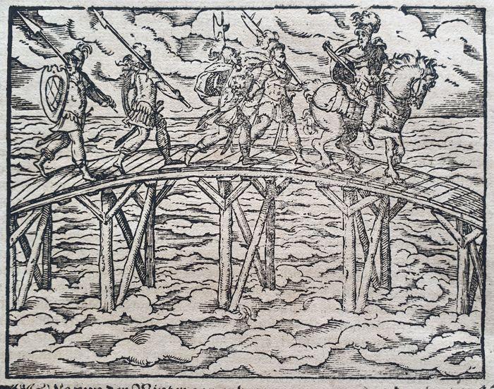 2 prints - Jost Amman (1539 – 1591)  - Troops crossing an river plus one other