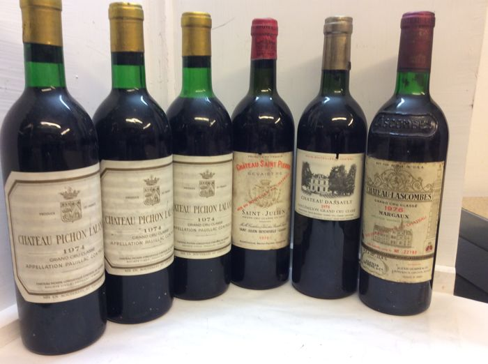 Mixed lot -  Chateau Pichon Lalande, Chateau Saint-Pierre, Chateau Dassault, Chateau Lascombes  - Bordeaux Grand Cru Classé - 6 Bottles (0.75L)