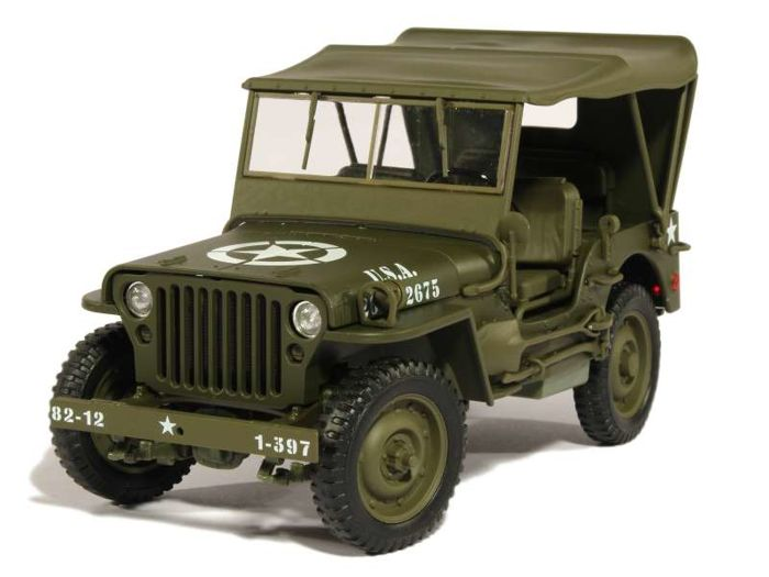 Welly - 1:18 - Jeep 1/4 Ton Army Truck (Canvas Top)