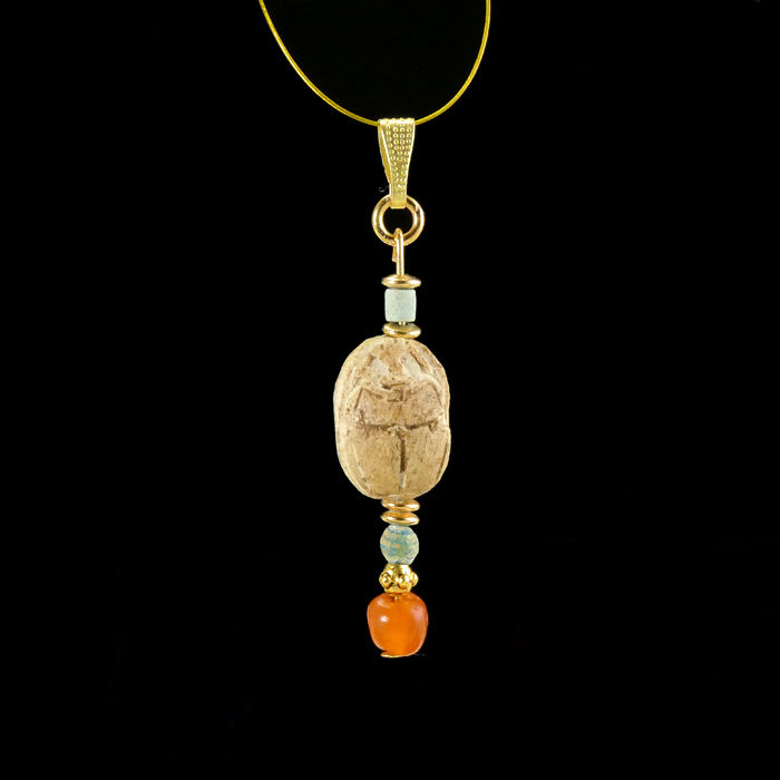 Ancient Egyptian Steatite scarab pendant with faience and carnelian beads - (1)