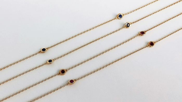 18 kt. Pink gold - 2 Necklace - 1.15 ct Sapphire & Ruby