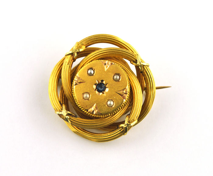 Authentic Antique 19th Century  - 18 karaat Geel goud - Broche Saffier - Parels