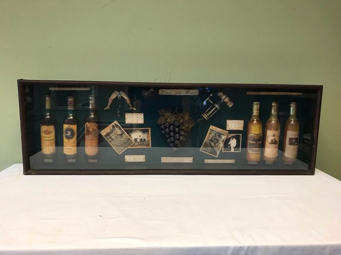 display case with wine miniatures - Glass, Wood Curio Curio for sale