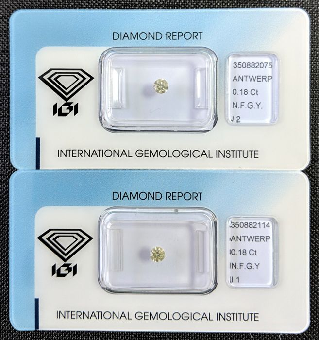 2 pcs Diamanten - 0.36 ct - Brillant - Fancy Greyish Yellow - I1, I2, IGI Antwerp - No Reseve Price