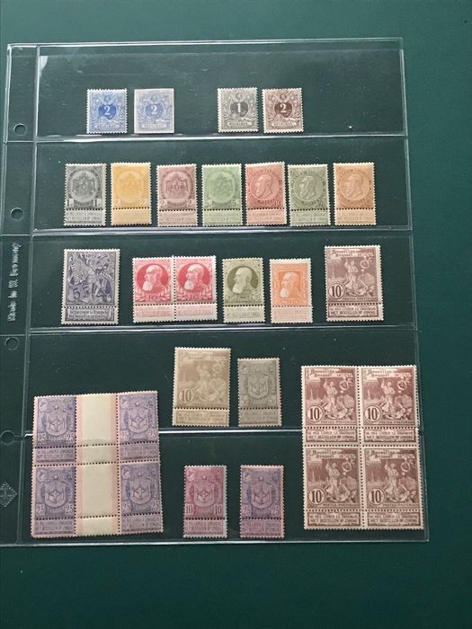 België 1869/1905 - Selection of stamps with 50c 'fine beard' and 1Fr 'rough beard' - OBP / COB 27/79