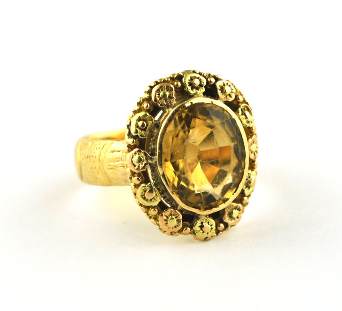 Antique  - 18 kt. Yellow gold - Ring Citrine