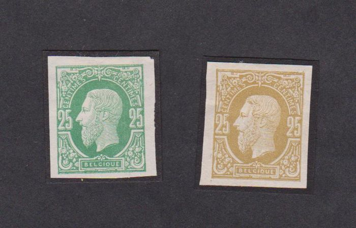 België 1875 - Two proofs 25 cents on white paper - Stes 1675 and 1678