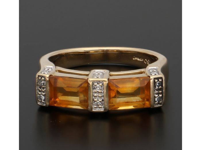 18 kt Gelbgold - Ring Citrin - Diamant