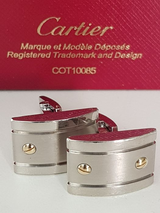 Cartier Sterling Silver and 18K yellow Gold - Cartier Sterling Silver Cartier De Santos Cuff links with 18k Gold Screws