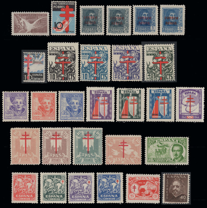 Spain 1937/1949 - Spanish State - Batch of 25 different sets - Edifil 840, 845/6, 861, 866, 948/51, 970/3, 984/8....1066/9