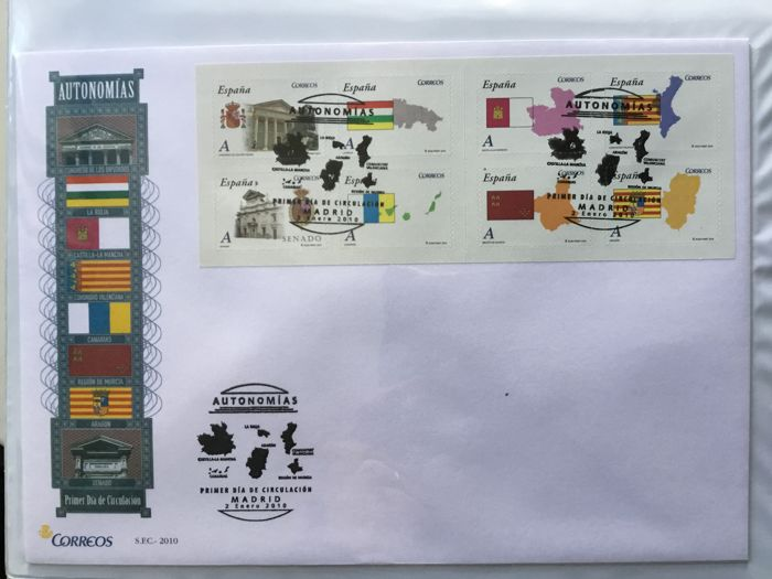 Spain 2010 - Complete collection of First day covers, 2010 - Edifil