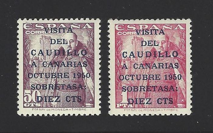 Spain 1950 - Canary Islands mail 1st issue with report, well centred - Edifil 1083 A/B