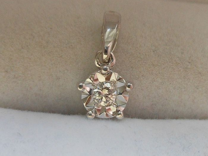 14 kt. White gold - Pendant - 0.10 ct Diamond