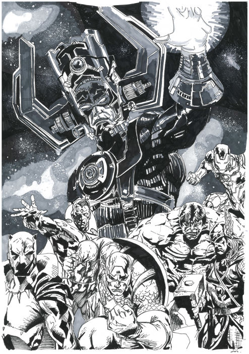 Marvel - Format A3- Iron Man, Hulk, Thor, Black Panther, Capitain America, Vision, Galactus Commission - inked sketch - (2018)