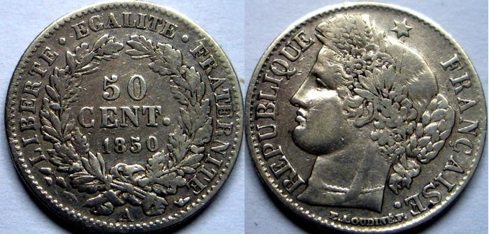 France - 50 Centimes 1850-A Ceres - Silver