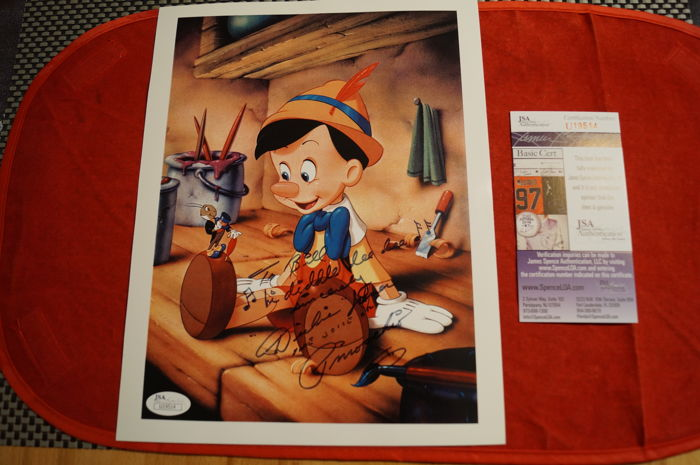 Walt Disney  - Signed Photo - by Dickie Jones - Voice of Pinocchio
