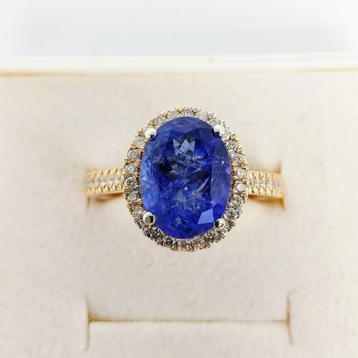 18 carats Bicolore - Bague - 3.16 ct Tanzanite - Diamants