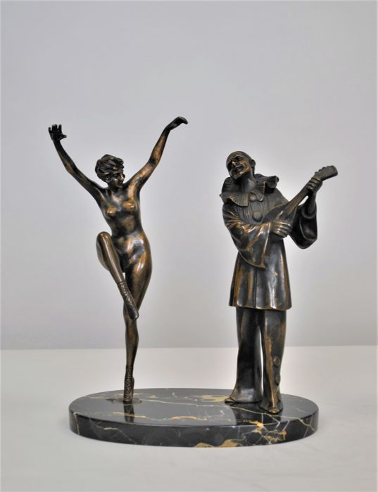 Pierrot and the ballerina - Bronze sculpture