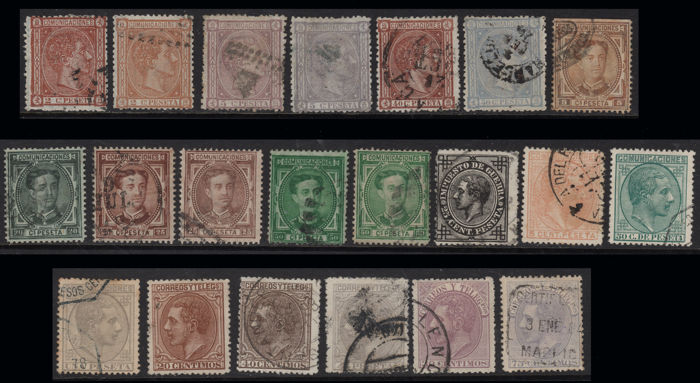 Spain 1875/1882 - Alfonso XII - Batch 21 stamps + 2 letters