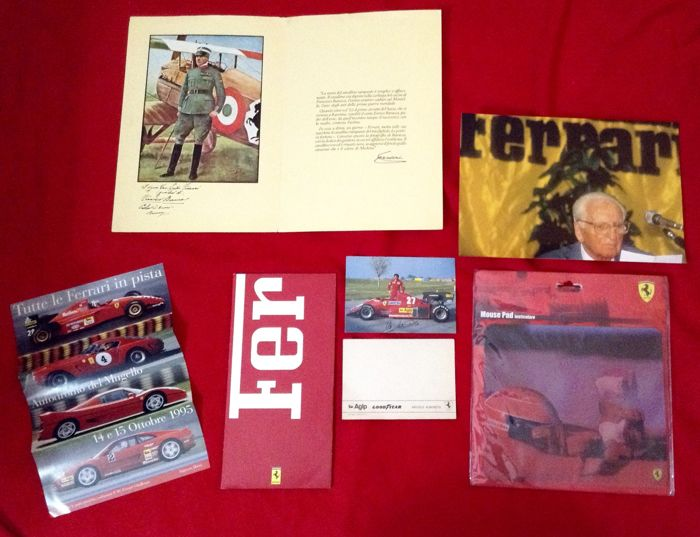 rare interesting Ferrari miscellany Literature Lot - Mouse-Pad Enzo Ferrari photo Brochures look  - 1975-1995 (8 items)