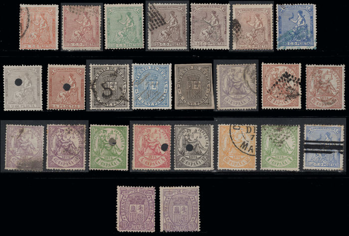 Spain 1873/1875 - 1st Republic - Batch with 25 stamps