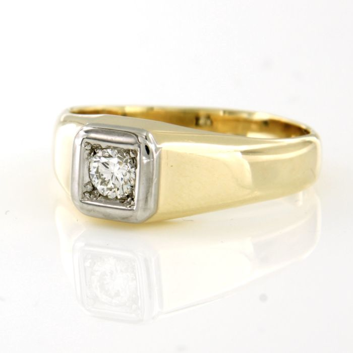 14 karaat Geel goud, Witgoud - Ring - 0.22 ct Diamant