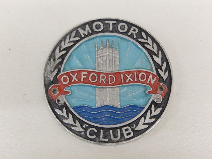 Badge - British Oxford Ixion Motor Club Car Badge Grille Badge Auto Emblem - 1960-1970