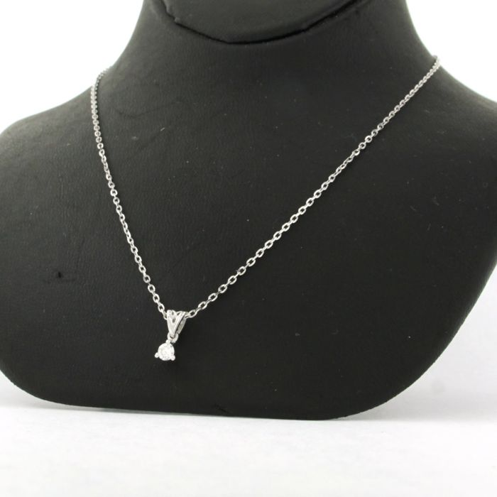 Mixed White gold - Necklace with pendant - 0.10 ct Diamond