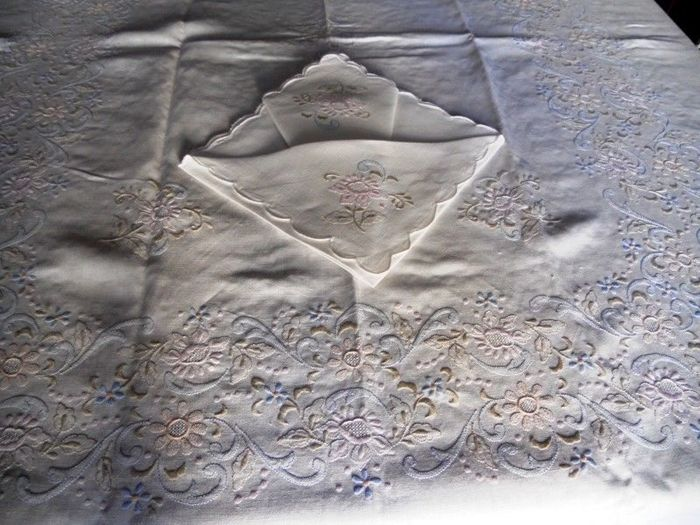 Tablecloth x12 pure linen embroidery stitch full by hand - Linen