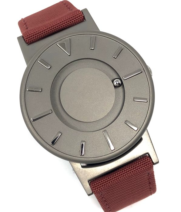 Eone  - Bradley Titanium Crimson with Red Canvas/ Leather strap - BR-C-RED - Unisex - 2011-present