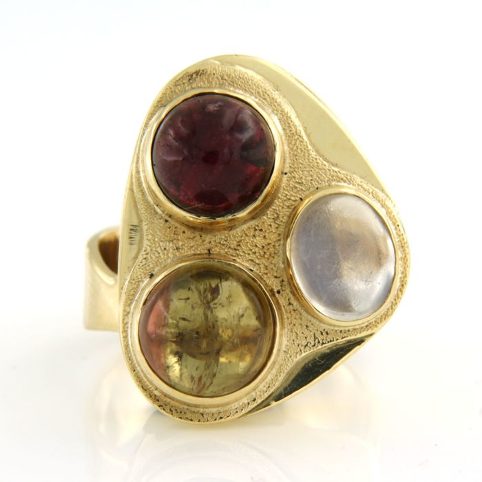 14 kt. Yellow gold - Ring Ruby - Citrine, Moonstone