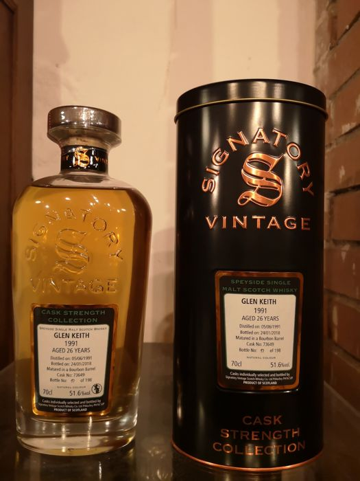 Glen Keith 1991 26 years old Cask Strength Collection  - Signatory Vintage - b. 2018 - 70cl