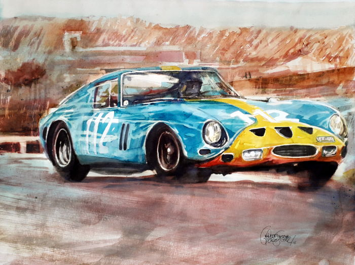 Original watercolor by Gilberto Gaspar - Ferrari 250 GTO - 2018 (1 items)
