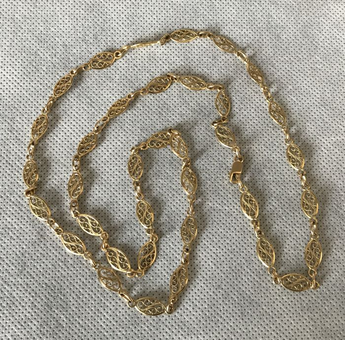 18 kt. Yellow gold - French Vintage 18k Gold Necklace Sautoir