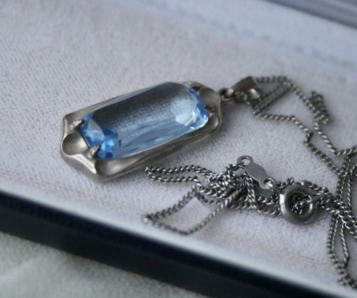 925 Sterling zilver - Circa 1920/1940 Art Deco ketting - 5.80 ct Blue Spinel